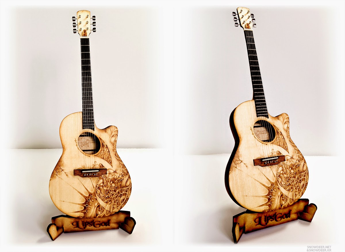 Woodburning Art Pyrography By Snowdeer On Miniature Guitar 1 4 Scale