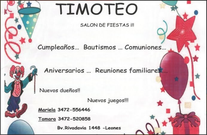 ESPACIO PUBLICITARIO : TIMOTEO SALÓN DE FIESTAS