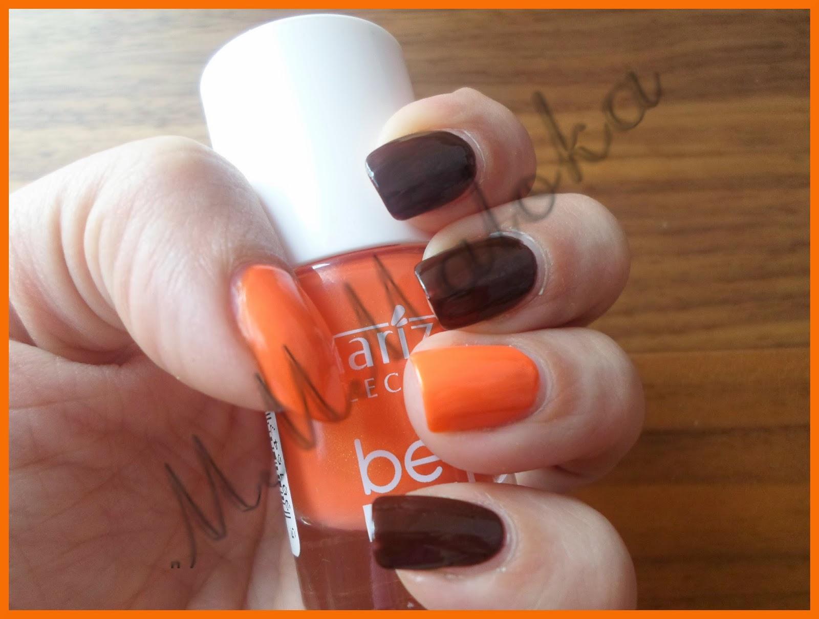 duet paznokciowy - brąz i pomarańcza