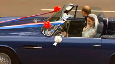 The Duke of Cambridge at the wheel of the Aston Martin. YouTube 2011.