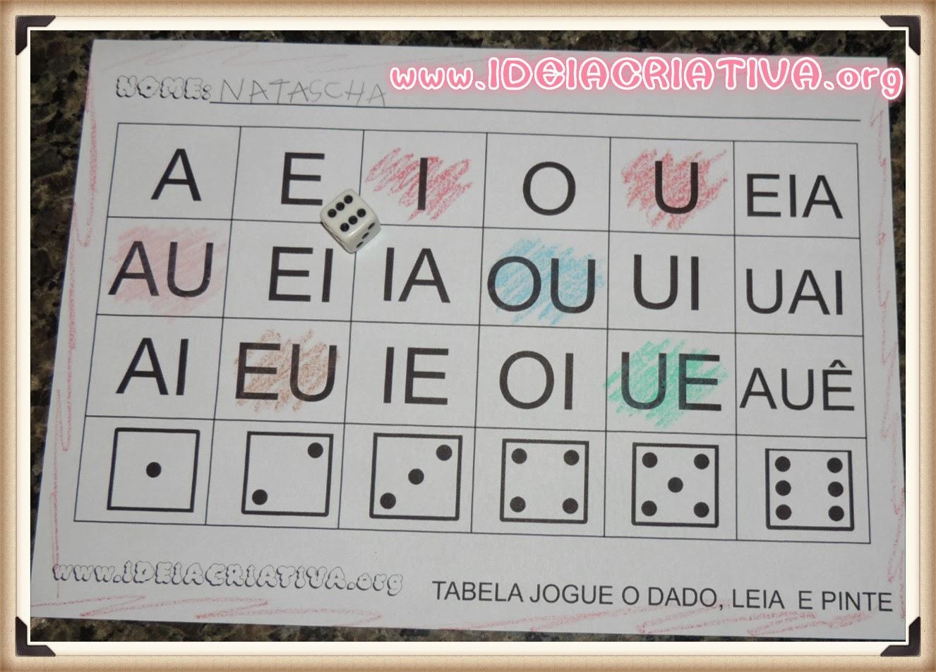 Atividade Encontro Vocálico Jogue o dado, leia e pinte