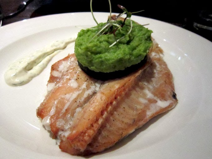 Smoked haddock, with a mush pea puree.