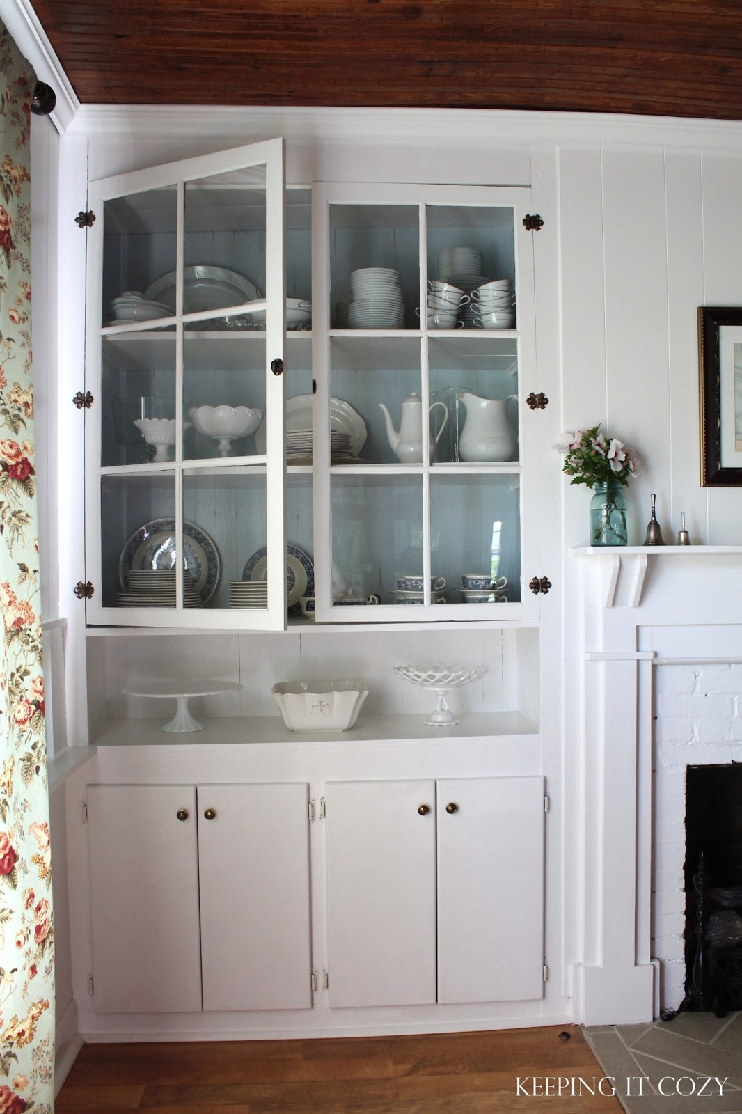 Keeping it cozy in the dining room hutch for A dining room hutch