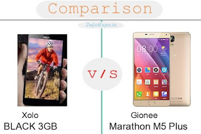 Xolo BLACK 3GB versus Gionee Marathon M5 Plus specifications and features comparison RAM,Display,Processor,Memory,Battery,camera,connectivity,special feature etc. Compare Gionee Marathon M5 Plus and Xolo BLACK 3GB in all features and price,Shopping offers,coupens.