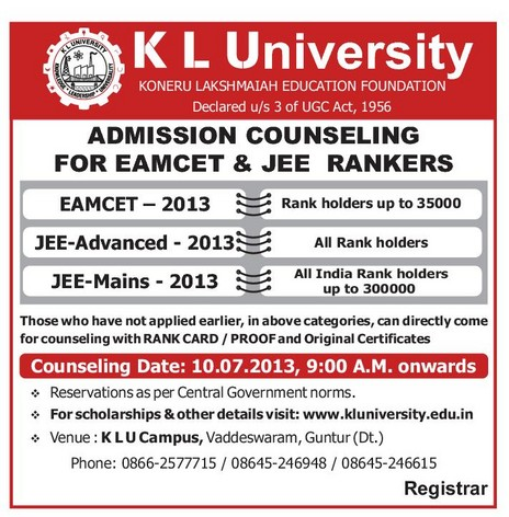 EDUCATION FOUNDATION ADMISSION COUNSELING FOR EAMCET & JEE RANKERS