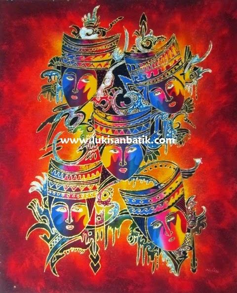 Lukisan Topeng Primitif 38  Lukisan Jakarta Bandung Bali Jogja