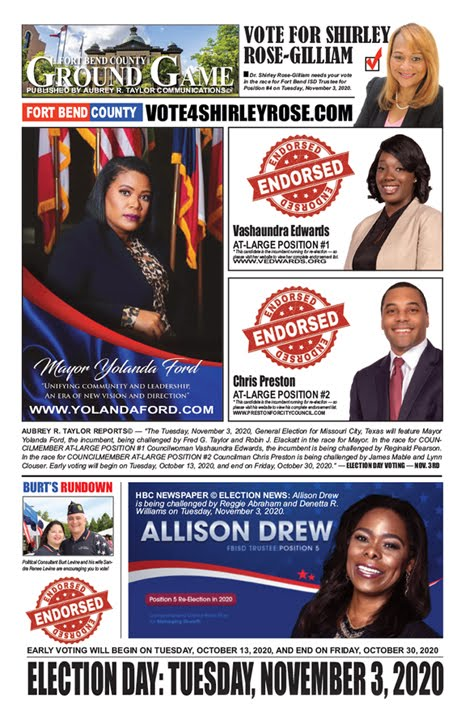 Focus on Fort Bend County from a Democratic Perspective - Election Day is Tuesday, November 3, 2020