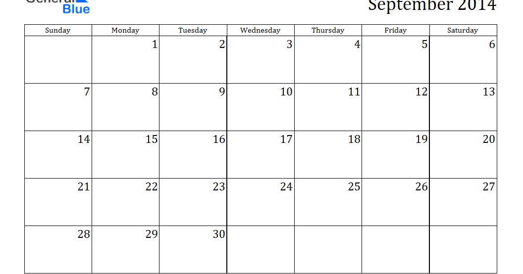 September 2014 Calendar Template Gallery Template Design Free Download