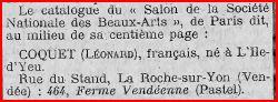 Varia histoire g n alogie l onard coquet 1899 1952 peintre vend en - Salon du mariage la roche sur yon ...
