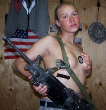 Blonde army girl with a gun