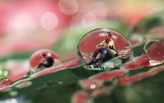 Trapped in a water drop - photo manipulation