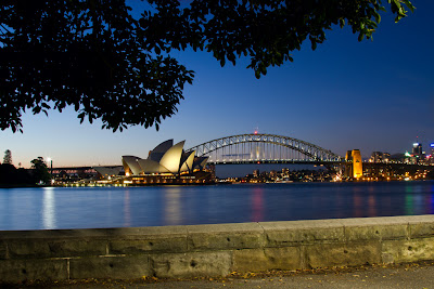 A photograph of the Sydney Opera House & Harbour Bridge, Australia