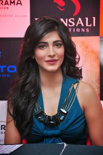 Actress Shruti Han Pictures in Long Dress at Gabbar Game Launch  2