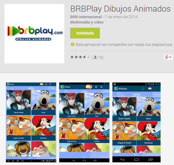 Aplicación para ver los dibujos animados de BRB Internacional.