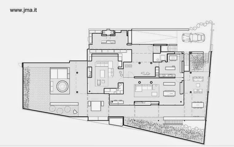 Plano arquitectónico de la planta de Casa Dolomite en Italia