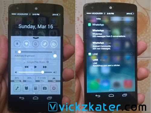 Tampilan iOS7 di Android-Control Center & Notification Panel