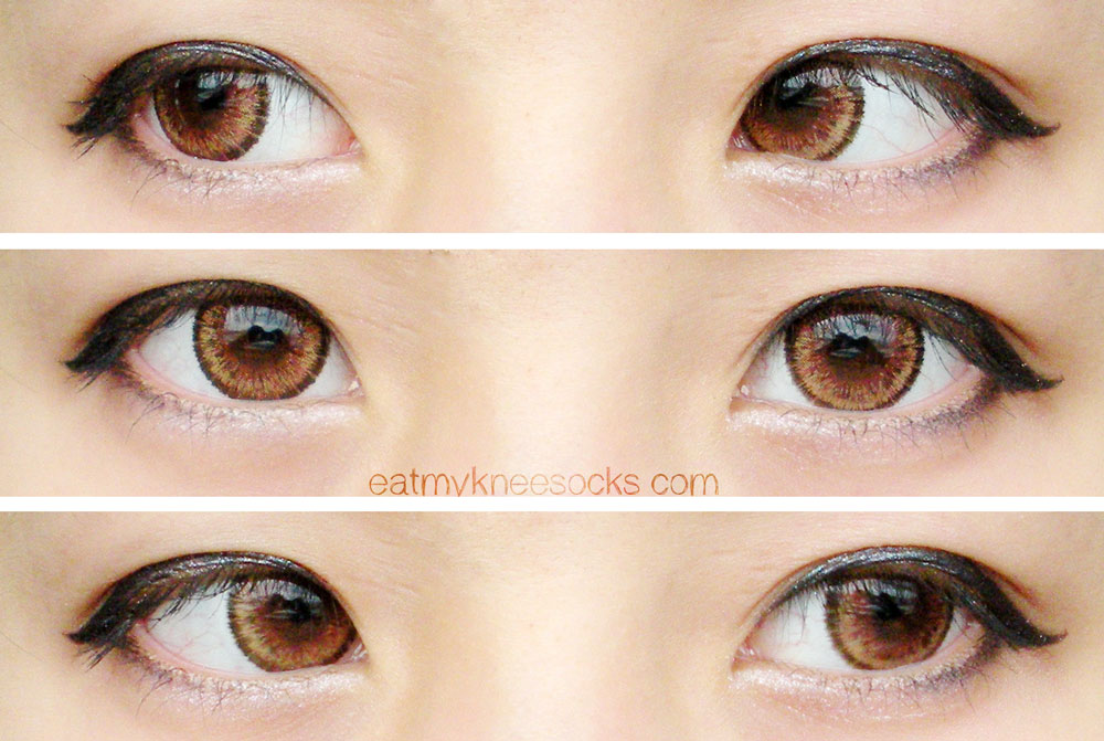 Left, center, and right views of the EOS Cat Eyes Brown circle lenses from Love Shoppingholics, perfect for those who want a dolly/gyaru or possibly ulzzang style.