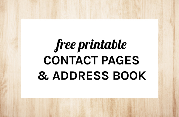free printable address pages