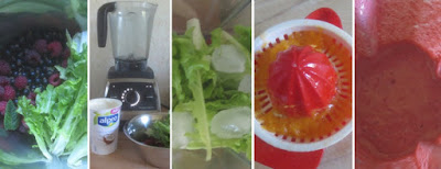Zubereitung Beeren-Salat-Kokosjoghurt-Smoothie