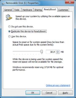 Screen Shot of ReadyBoost Details Screen