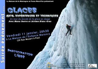"""soirée """"GLACES""""  image et conférence  le 11 janvier 2013 à la Maison de l'Enfance Marancy"""