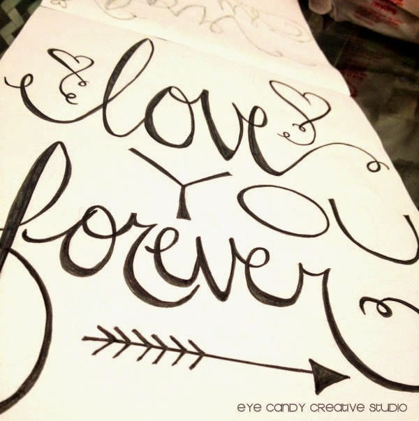 love you forever, art print, hand lettering, word art, wedding decor, love