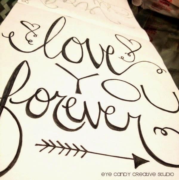 love you forever, art print, hand lettering, word art, wedding decor, love