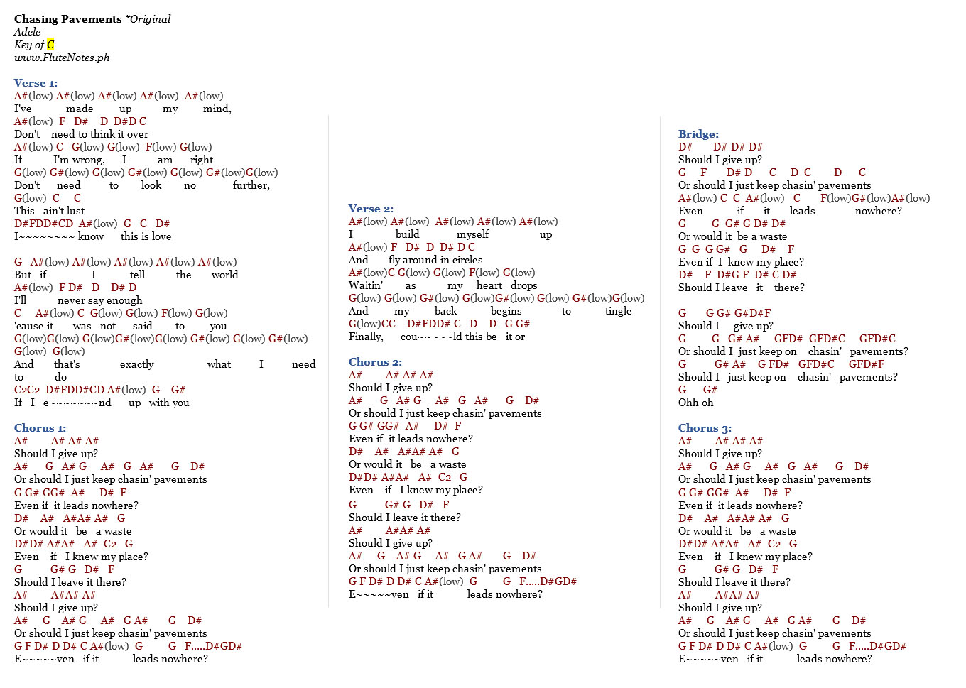 Chasing pavements adele music letter notation with lyrics for chasing pavements original hexwebz Gallery
