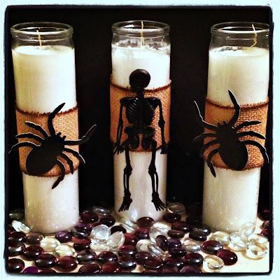 Dollar Tree, spiders, skeleton, candles, diy, burlap, Crafty In Crosby