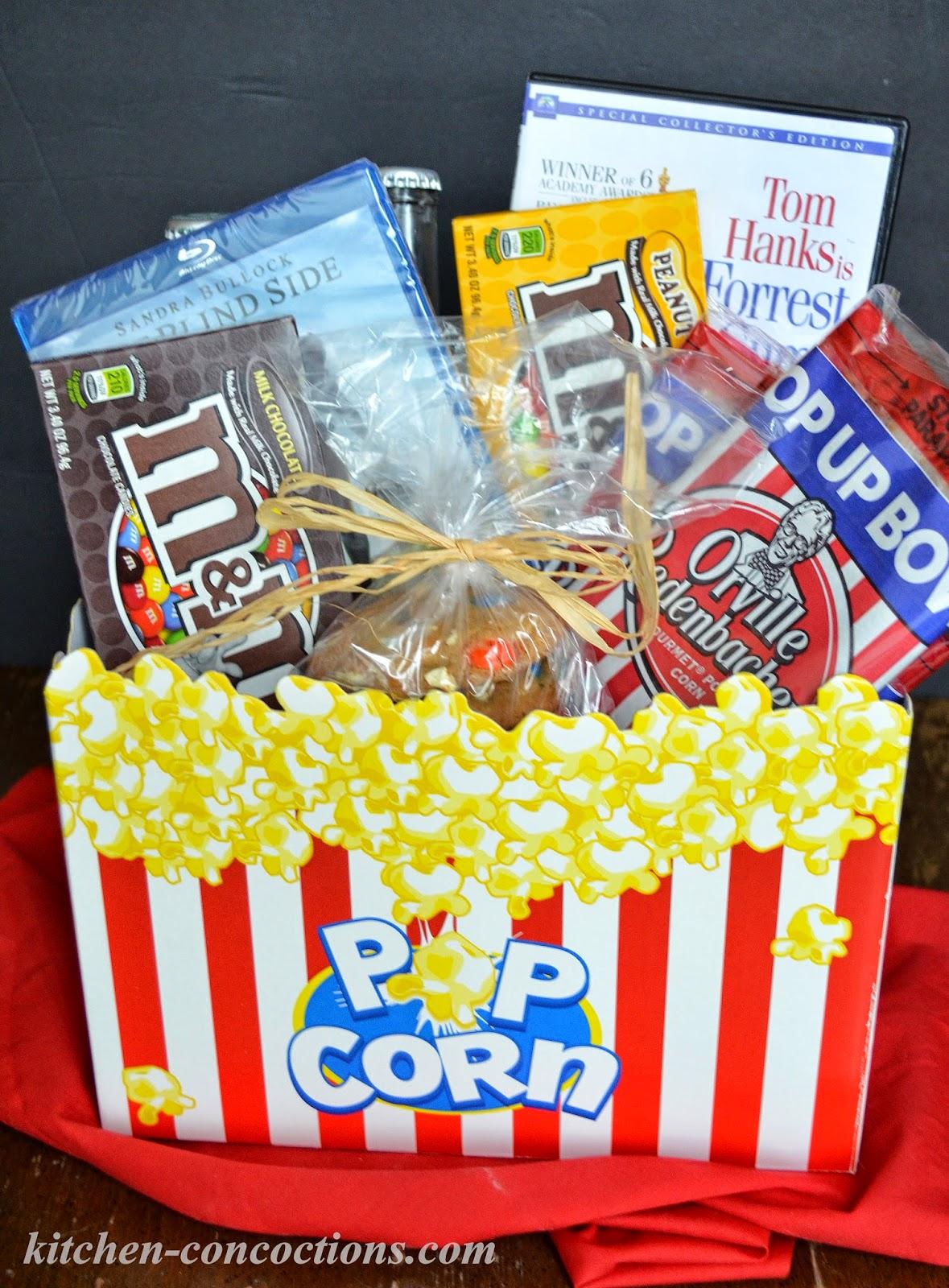 Kitchen Gift Basket Movie Night Popcorn Mmsar Cookies Plus Movie Night Gift