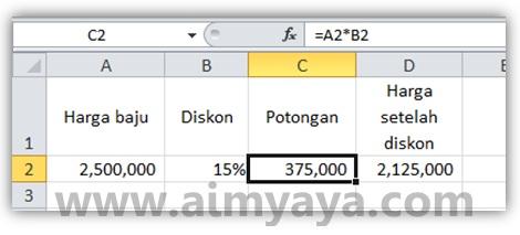 Gambar: Contoh perhitungan diskon (discount) di Microsoft Excel