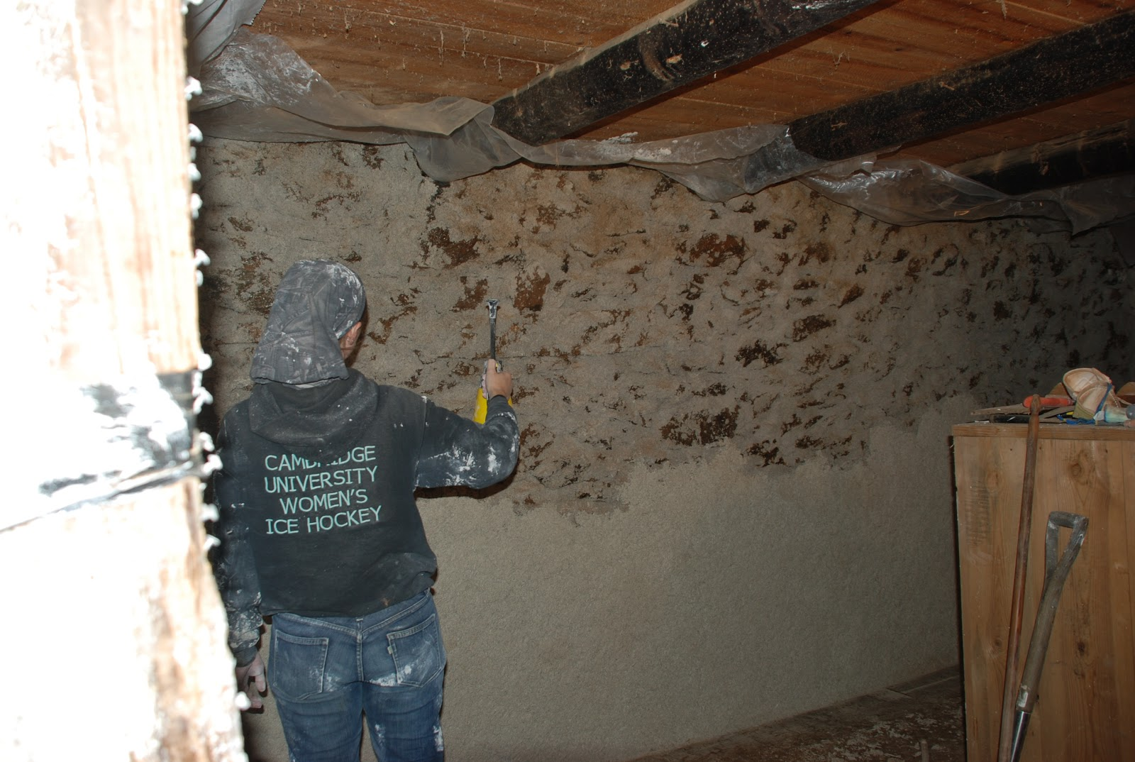 This Is Me Spraying Before We Upgraded To A Better Sprayer! Here You Can  See The Stipple Coat On The Top Half Of The Wall, And The Lime And Hemp  Plaster ...