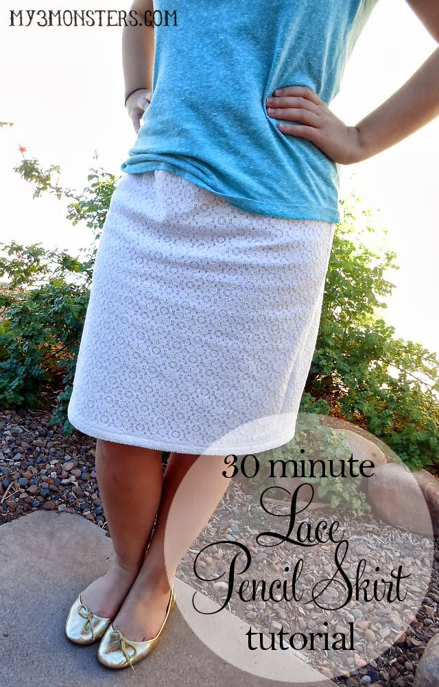 30 minute Lace Pencil Skirt tutorial at my3monsters.com