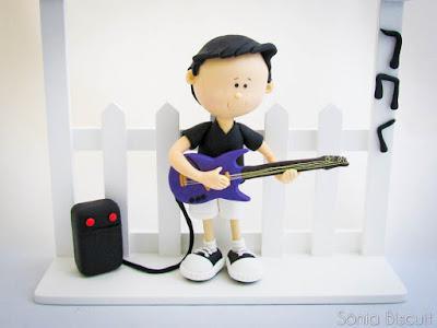 Quadrinho Porta Maternidade Biscuit Guitarra