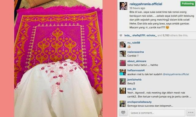 Raisyah Rania Dikecam Peminat Kerana Ambil Gambar Sejadah