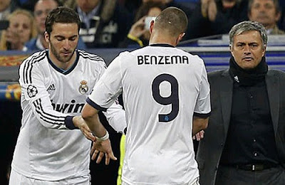 Higuain replaces Benzema in front of Mourinho