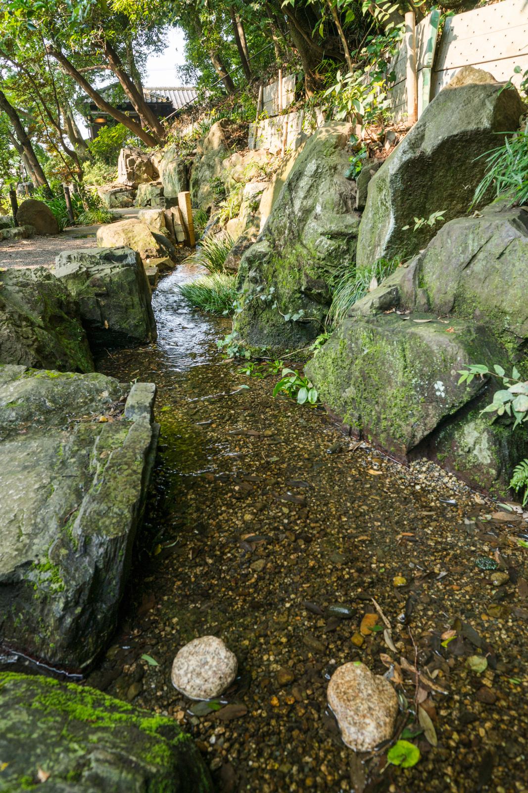 貫井神社、湧水の水路の写真