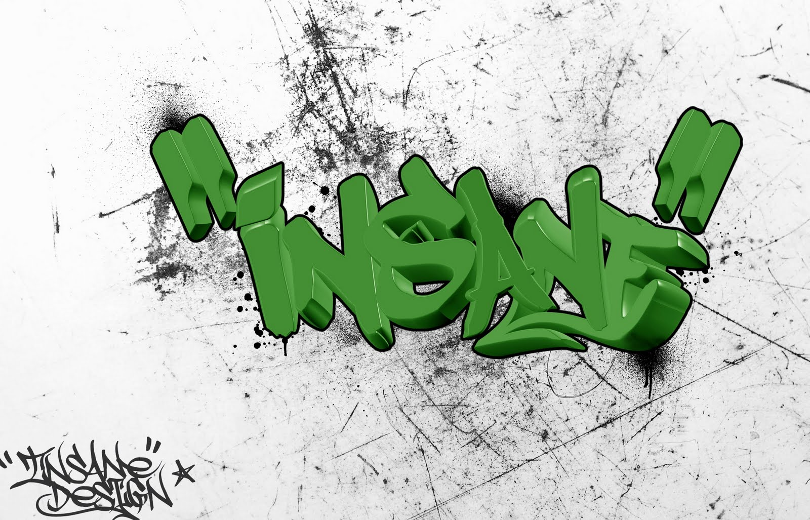 insane name in 3d graffiti letters green color