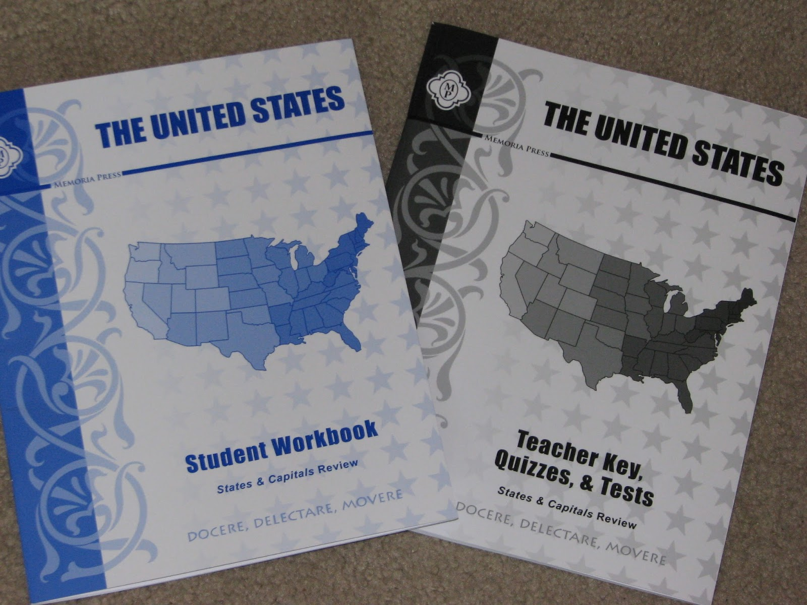 i ll start with the us books these books are for learning the location shape and capitol of all 50 states the states are divided into 8 different