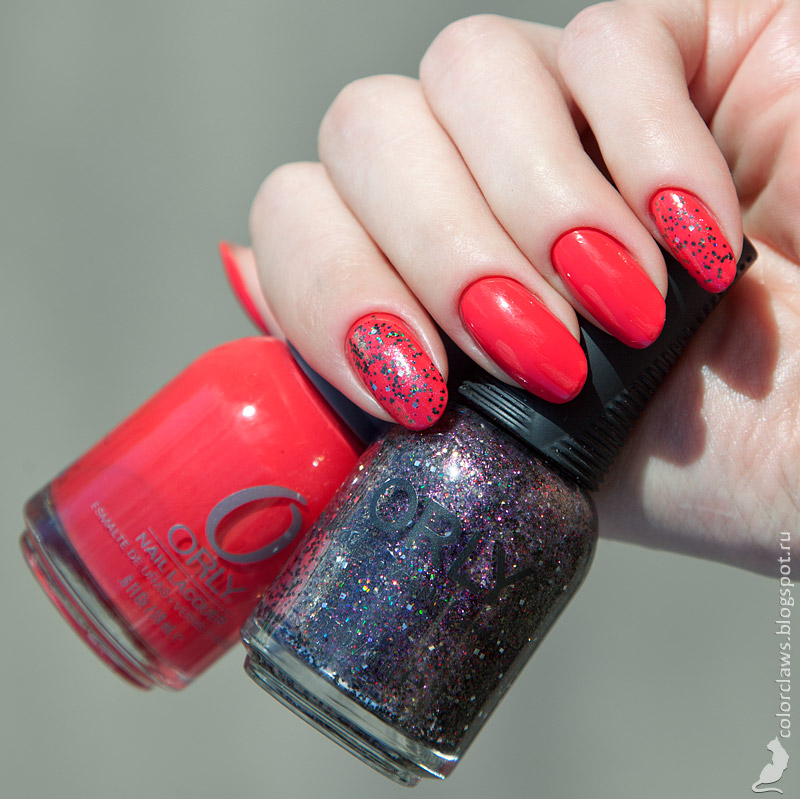 Orly Precisely Poppy + Digital Glitter