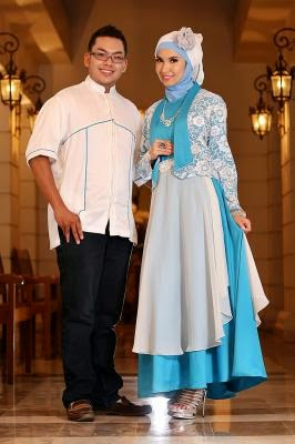 Baju pesta muslim couple modern terbaru