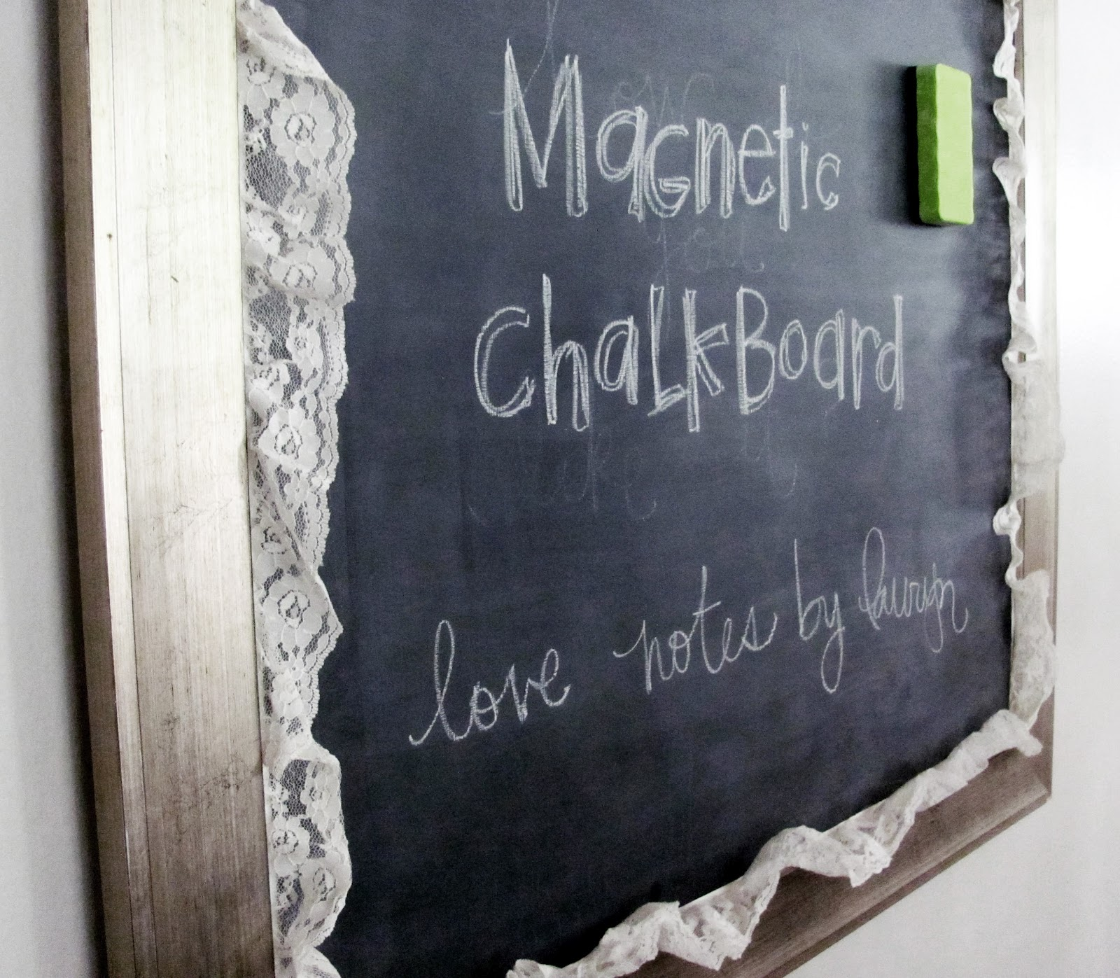 love notes by lauryn magnetic chalkboard tutorial how to paint with chalkboard paint. Black Bedroom Furniture Sets. Home Design Ideas