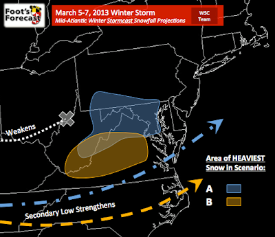 SCENARIO A (Slower storm with a northerly component, heavy snow in MD)
