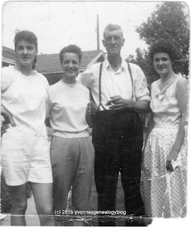 Eugene Desgroseilliers with his daughters Jeanne d'arc Jacqueline and Madeleine