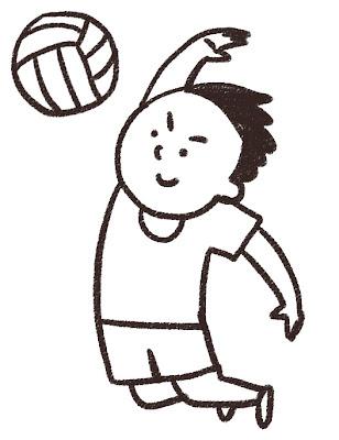 バレーボールのイラスト「アタック!」 モノクロ線画