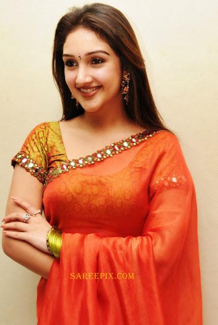 Tollywood actress Sridevi photos in orange plain transparent saree ...