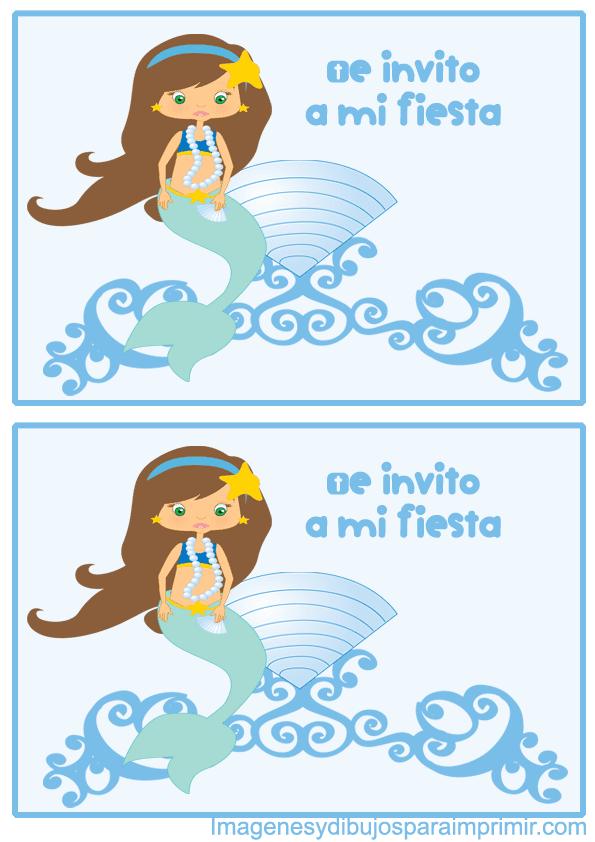 Invitaciones de sirenas para imprimir