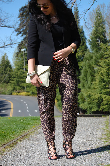 Leopard harem pants, Helmut Lang Cusp blazer, Gap clutch and Prabal Gurung for Target cage heels.