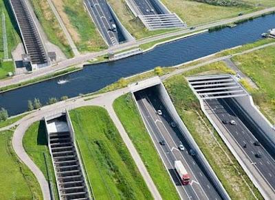Aqueduct Ringvaart Haarlemmermeer, Netherlands.