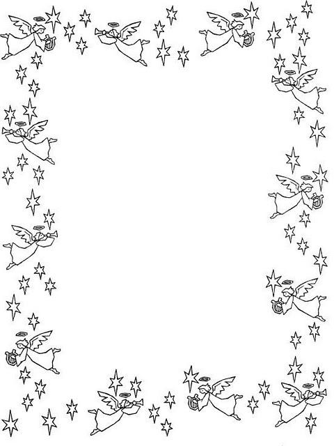 borde de ngeles y estrellas para colorear e imprimir